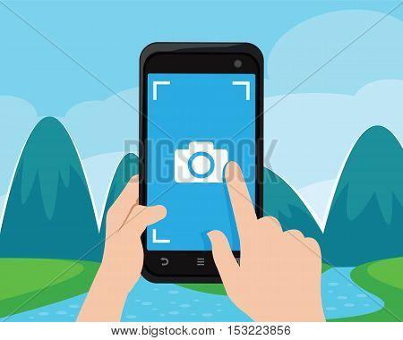 take mountain scenery photo with smart phone vector illustration