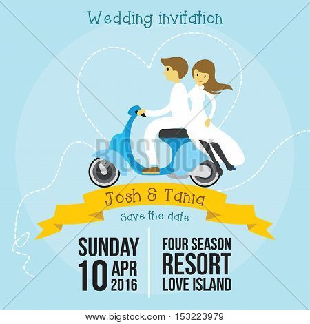 Cute wedding invitation cartoon style template with soft blue background vector illustration