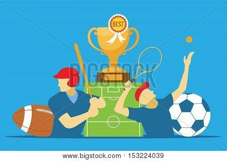 sports news category illustration vector design concept