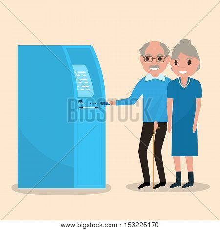 Vector illustration grandfather and grandmother got a plastic credit card. Old man puts an electronic card into the ATM. Receive a pension. Loan for pensioners. Getting money through an cash dispenser