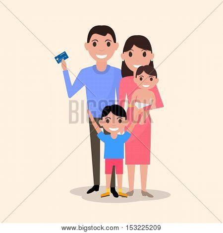 Vector illustration of a cartoon happy family with a plastic credit card. Drawing picture for banks, businesses, lending institutions. Man holds in his hand an electronic card for payment. Shopping.