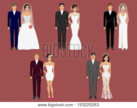 Wedding apparel, garment. Vector illustration set bride and groom in different costumes, clothes. Design drawing picture background of newlyweds. Girl and a guy in a variety of wedding dresses.
