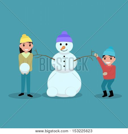Vector illustration of a cartoon happy children playing snowballs and make snowmen. Glad boy and girl are playing with snow outdoors. Flat style. Outdoor Play.