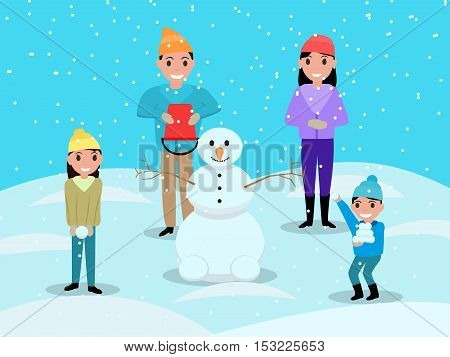 Vector illustration cartoon happy family playing snowballs and mold snowman. Mom dad daughter and son on a blue snowy background. Children and parents together in the snow. Flat style. Outdoor Play.