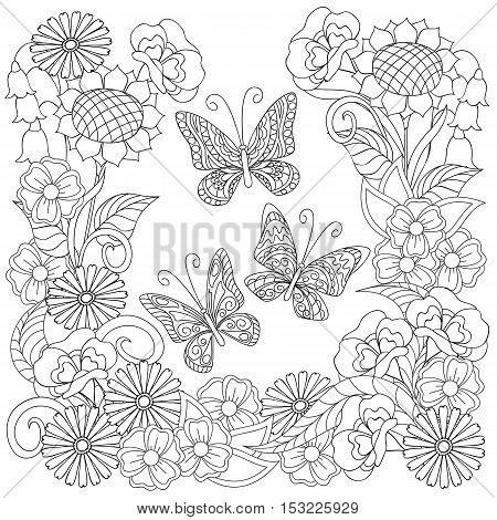 Hand drawn decorated three butterflies and flowers in ethnic style isolated on white. Image for adult and children antistress coloring book decorate dishes cups porcelains t-shirts dresses bags tunics. EPS 10.