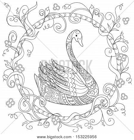 Hand drawn decorated swan in ethnic style isolated on white. Image for adult and children antistress coloring book page tattoo decorate dishes cups porcelains t-shirts dresses bags tunics. EPS 10.