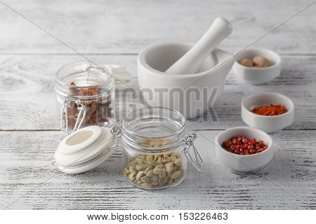 Ceramic Mortar With Pestle And Fresh Spices
