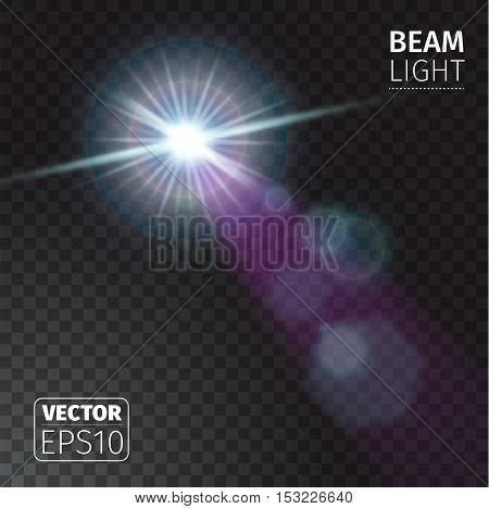 Vector illustration of realistic beam lights on transparent background.
