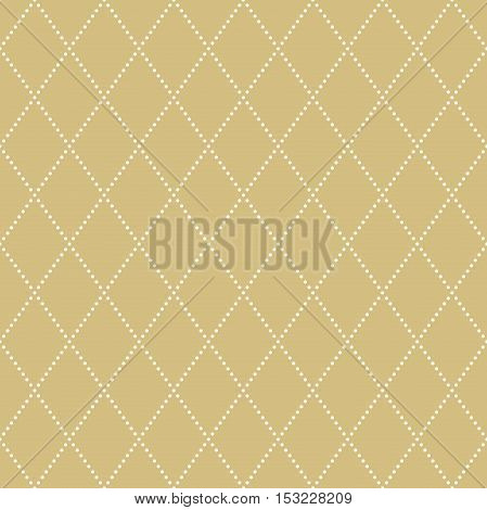 Geometric repeating ornament with diagonal dotted lines. Seamless abstract modern background. Golden and white pattern