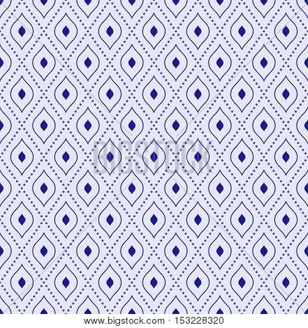 Geometric repeating blue ornament with diagonal dotted lines. Seamless abstract modern background