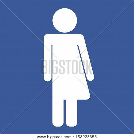 Gender neutral sign. White silhouette on blue background. Vector illustration.