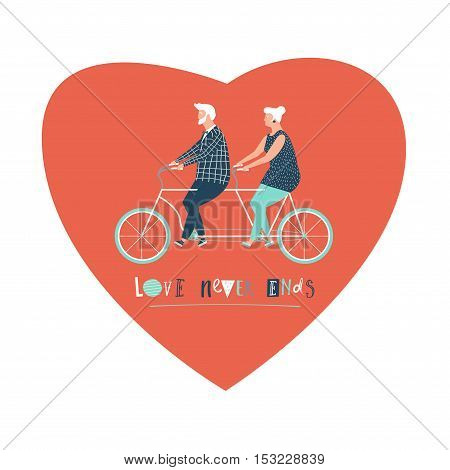 Happy elderly couple cycling bicycle together. Happy anniversary for grandparent. Happy valentines day card for old parents. Flat design vector illustration.