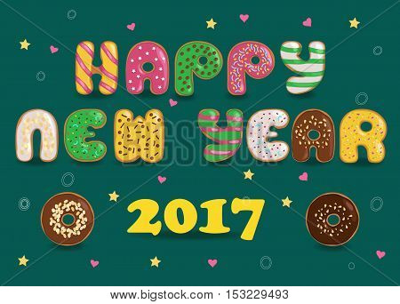 Happy New Year 2017. Donuts font. Colorful sweet letters. Vector illustration. EPS 8