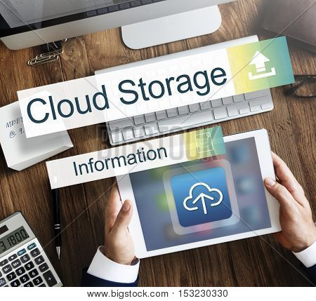Cloud Storage Data Backup Transfer Concept