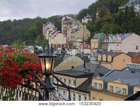 Rainy misty day day in Karlovy Vary (Karlsbad) Czech Republic. Cityscape view.
