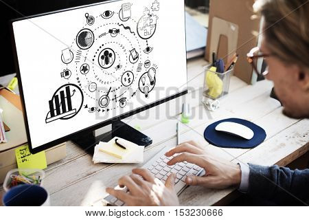 Business Marketing Icons Graphic Sketch Doodle Concept