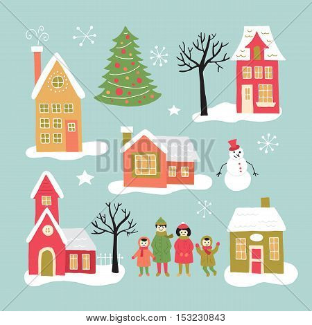 Christmas Holiday Hand Drawing Elements Set For Graphic And Web Design. Houses, Village And Family.