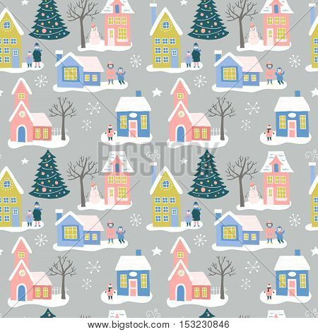 Christmas Holiday Seamless Pattern Design With Houses And Family. Hand Drawing Vector Illustration