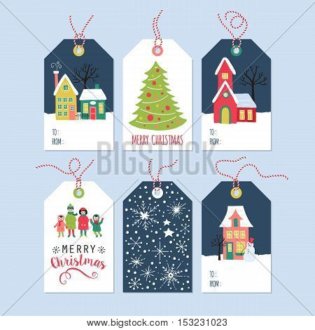 Christmas Holiday Gift Tags Set With Hand Drawing Houses And Family. Isolated Vector Illustration