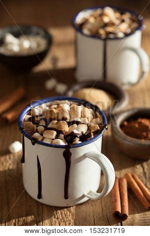 s'mores hot chocolate mini marshmallows cinnamon winter drink