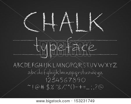 Letters numbers and symbols hand drawn on a chalkboard. Eps8. RGB. Global colors. Gradients free. Each elements are grouped separately