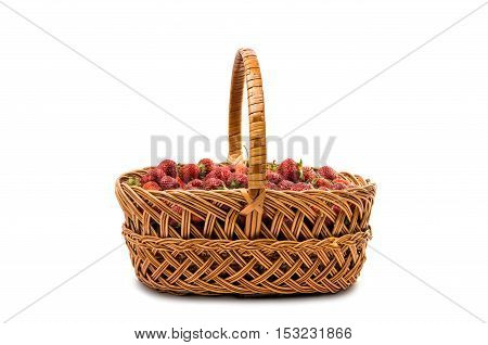 strawberries in a basket isolated on white background