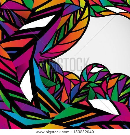 Tropical style. Abstract background with colorful mosaic design wave lines.