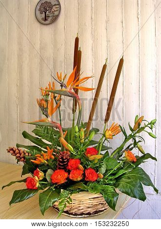 Bouquet of rose and Bird of Paradise flowers in Or Yehuda Israel July 23 2004