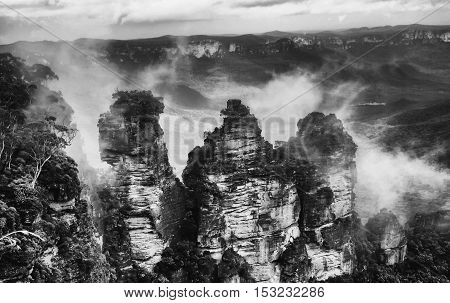 The Three Sisters From Echo Point Blue Mountains National Park NSW Australia in black and white.