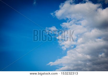 Clouds in the blue sky with copy space. Nature