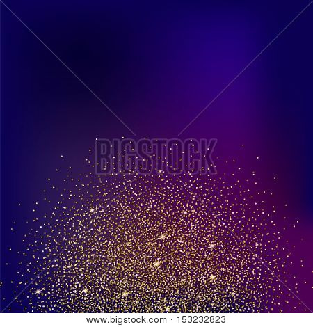 Gold glitter bright vector, colored background. Golden sparkles, shiny texture, . Excellent for your greeting cards, luxury invitation, advertising, certificate