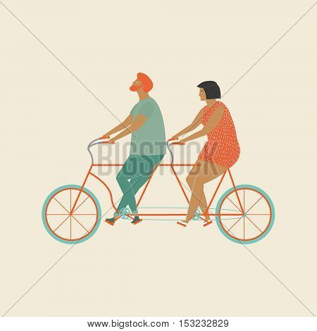 Grandparents couple riding a tandem bicycle in vector. Funny flat characters old man and women ride tandem bikes together. Old people love family illustration. Enjoy bicycle riding together.