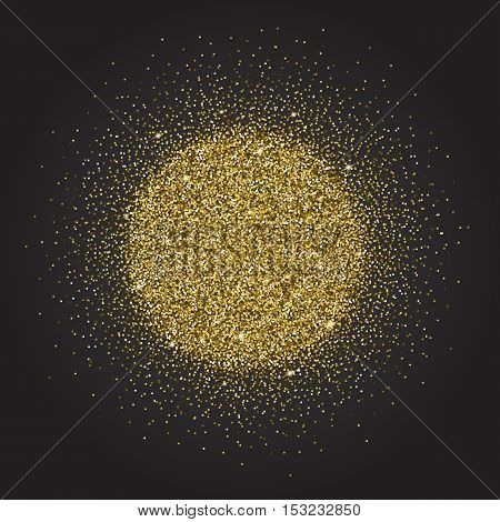 Gold glitter and bright sand, dark background.Golden sparkles, shiny texture, . Excellent for your greeting cards, luxury invitation, advertising, certificate