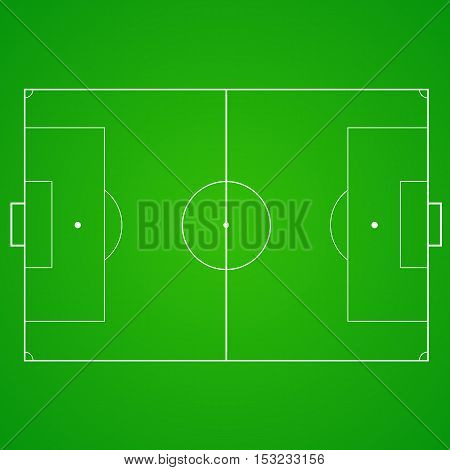 Football, soccer green, realistic, textured field. Top view with marking, easily resizable and any other elements. Template for a website, mobile application, presentation, corporate identity design