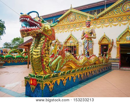 Thai dragon Chinese dragon at public temple that created with money donated by people to hire artist no restrict in copy or use