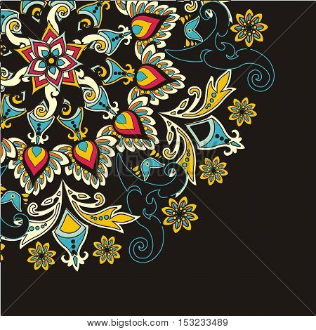 floral pattern in vintage style. Color in black