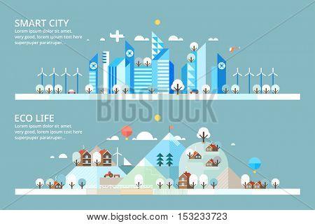 Winter - Smart City & Ecology village. Horizontal banners.