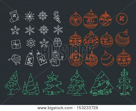Christmas symbols vector clipart. Merry Christmas and Happy New year elements collection