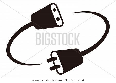 Plug Silhouette Cable electric plug extension cord power line connection