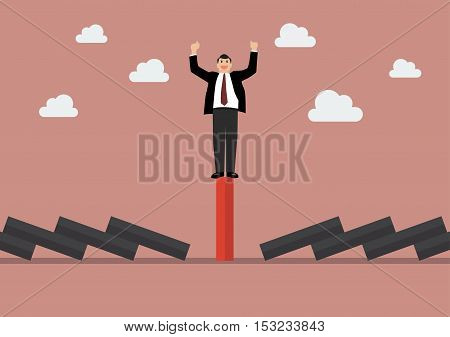 Businessman celebrating on unique red domino tile among falling black dominoes. Be different concept