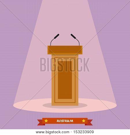 Wooden podium tribune rostrum stand with microphones. Vector illustration