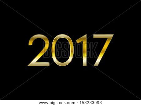 Golden 2017 New Year abstract background. Bright vector graphic design