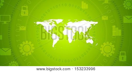 Global communication green tech abstract design. Bright technology vector background with world map, binary code and communication icons