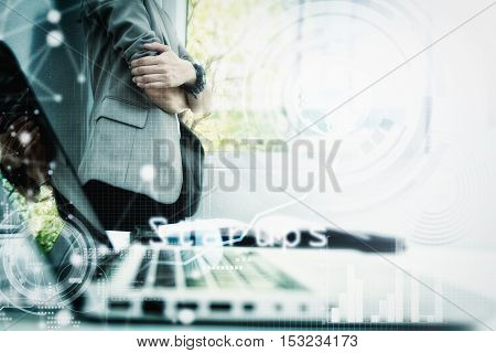 Modern Business Woman In The Office With Copy Space,business Woman Standing Looking For Outside The