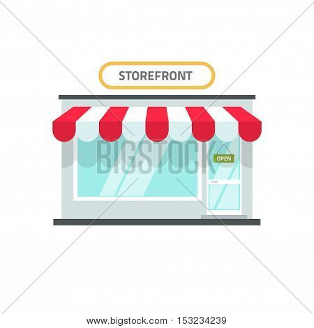Store vector illustration isolated, shop front view building, storefront window facade on white background, flat cartoon style