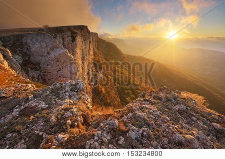 Mountain autumn nature landscape. Composition of nature.