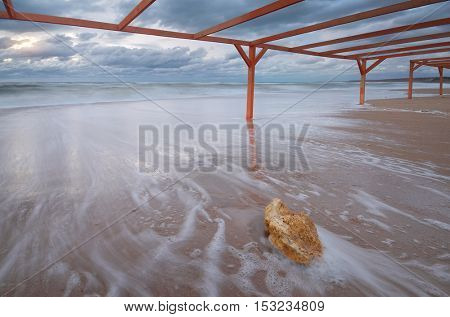 Storm on the beach. Nature composition.