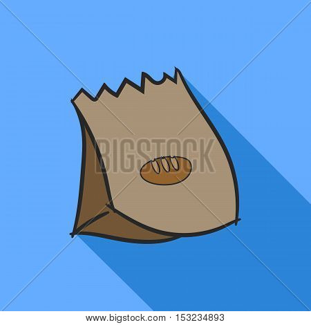 Bread Paper Bag with Long Shadow Flat Design