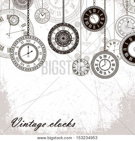 Vintage clock vector banner background. Retro antique backrop for business. Classic watch dial cover illustration. Elegant invitation, postcard, paper design. Traditional card. Victorian style