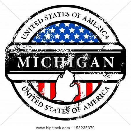 Grunge rubber stamp with name of Michigan, vector illustration